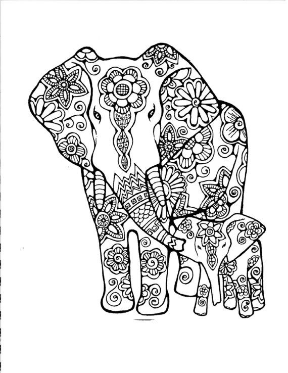 Coloring Pages For Adults Abstract Elephant