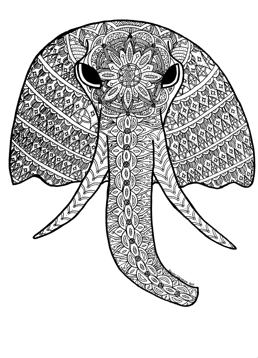 Download Elephant Coloring Pages For Adults
