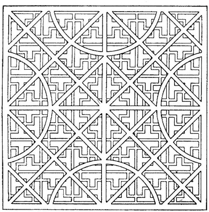Geometric Coloring Page For Adults