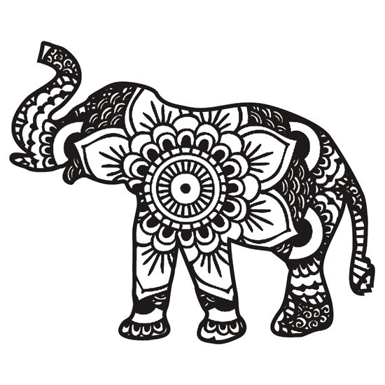 Indian Elephant Coloring Pages For Adults