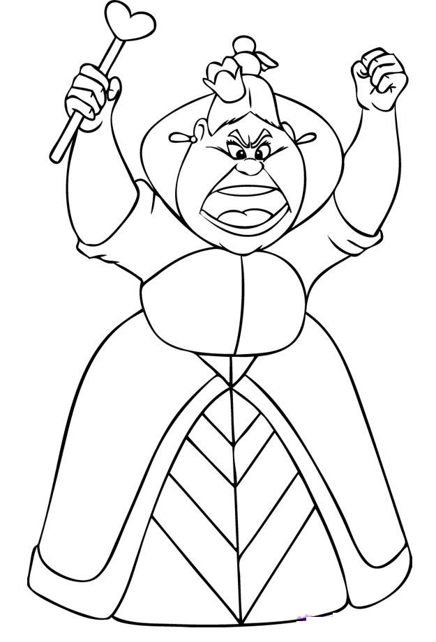 Queen of Hearts Alice in Wonderland Coloring Pages