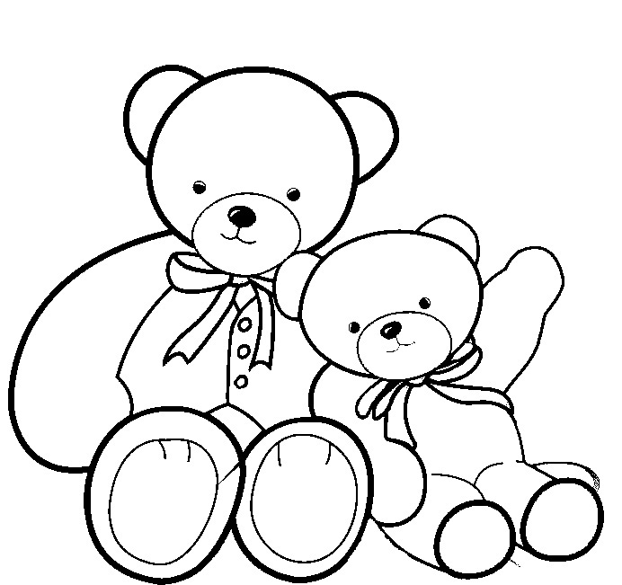 Teddy bear coloring pages for kids for Free bear coloring pages
