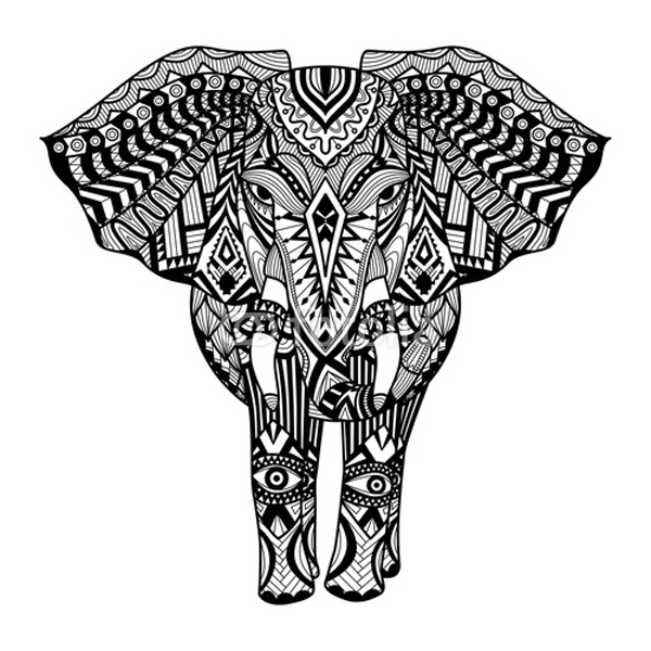 Tribal Elephant Coloring Pages For Adults
