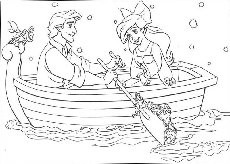 Ariel And Eric In Boat Coloring Pages