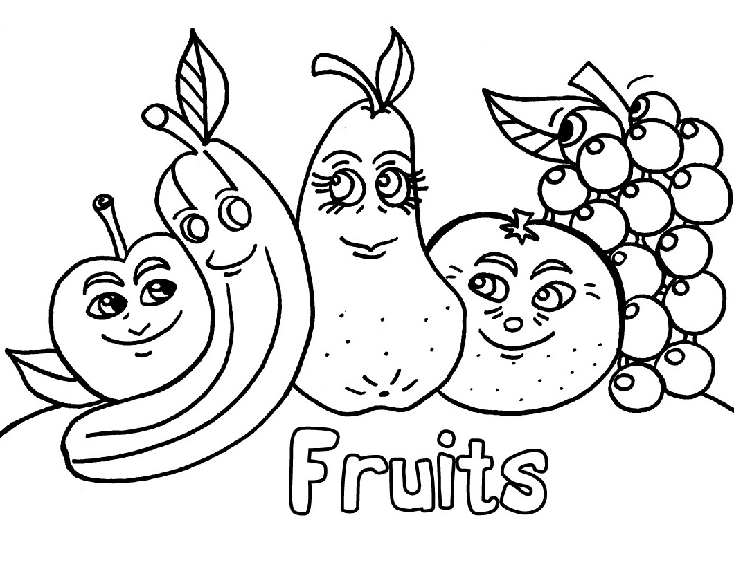 Cartoon Fruits Coloring Pages