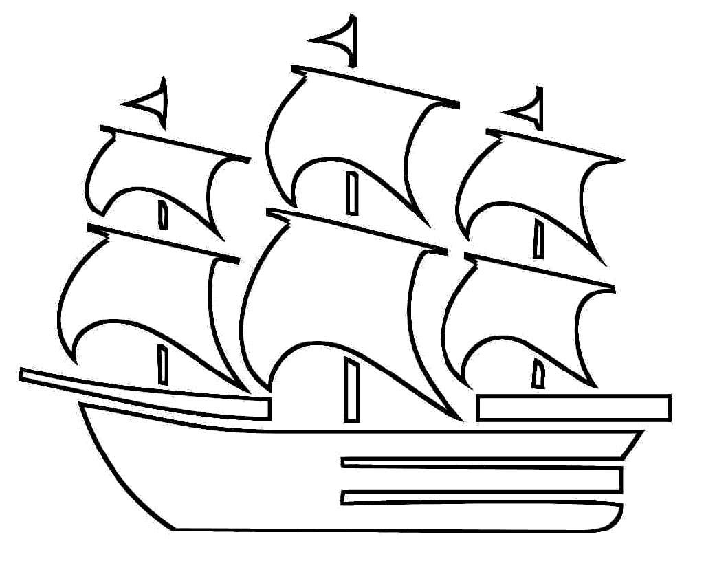 Pilgrim Boat Coloring Pages