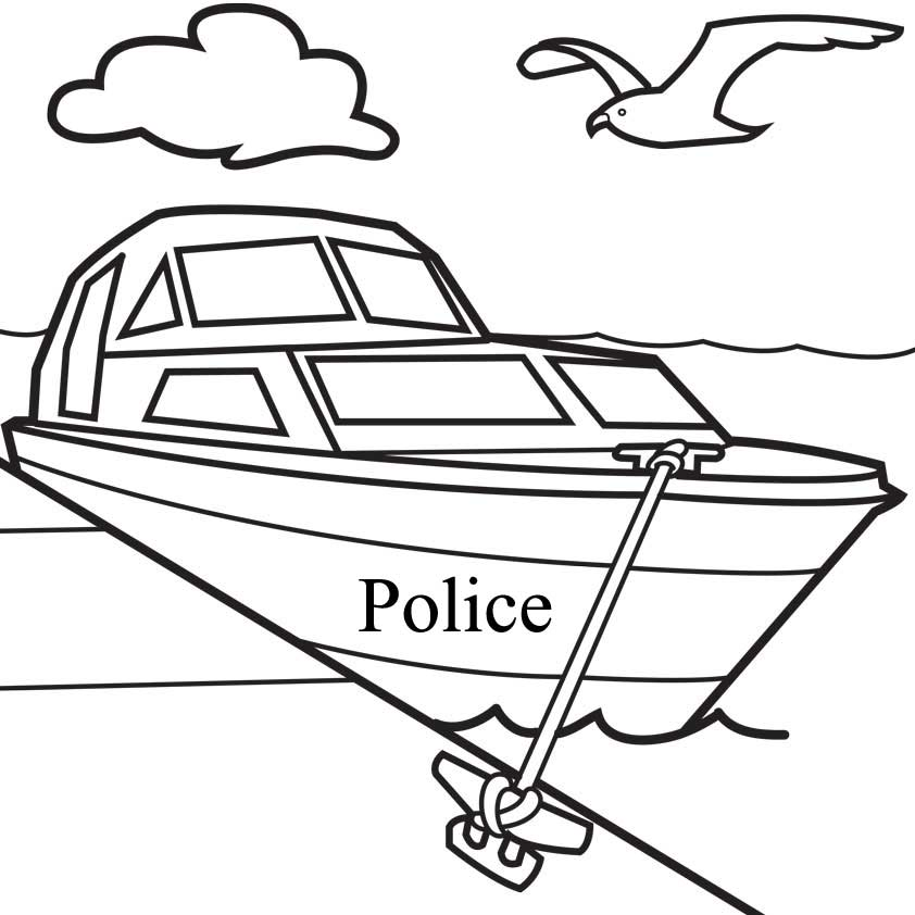 Police Boat Coloring Pages
