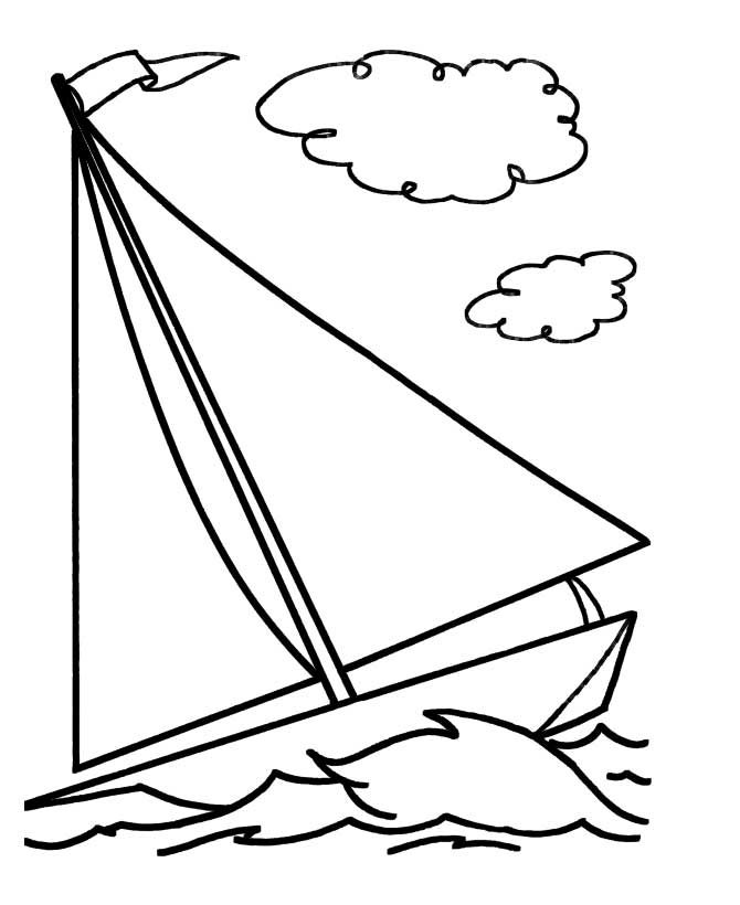 Simple Sailboat Coloring Pages
