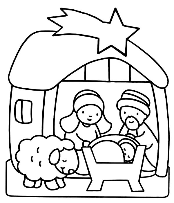 coloring pages of baby jesus in the stable | Baby Jesus Coloring Pages