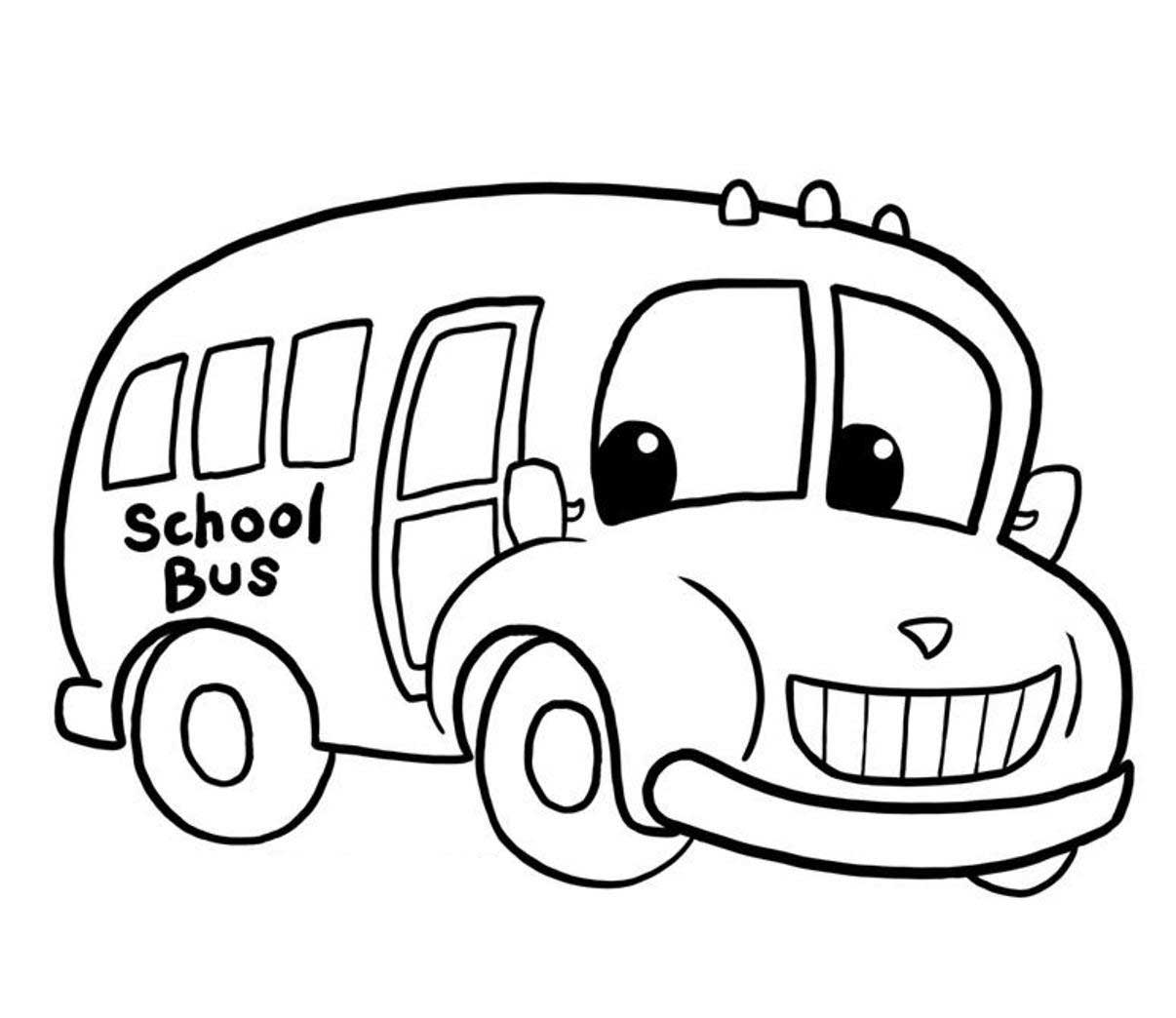 Cartoon School Bus Coloring Page
