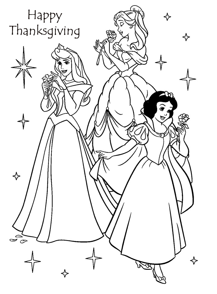 Disney Princess Thanksgiving Coloring Pages