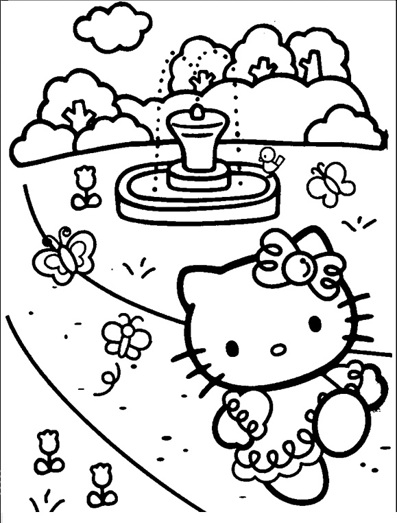 Hello Kitty Butterfly Coloring Pages
