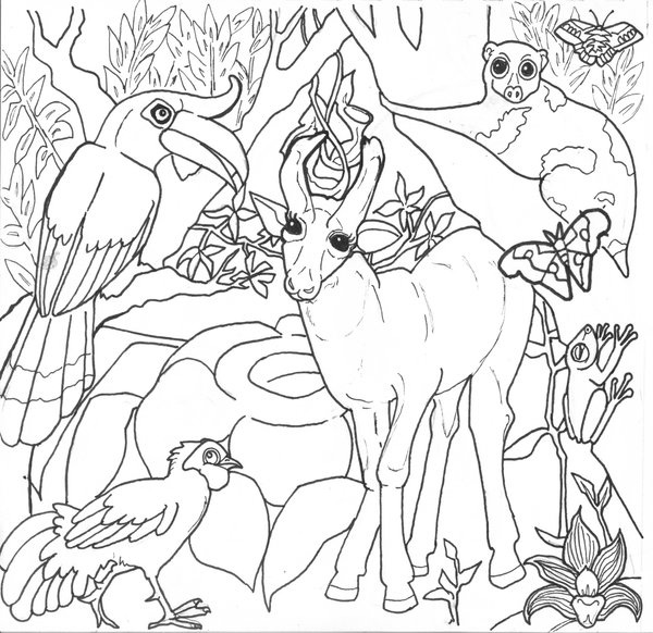 Jungle Background Coloring Pages