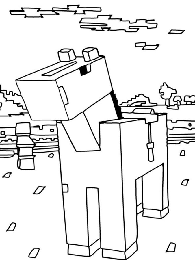 Minecraft Cow Coloring Pages