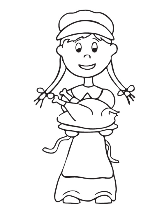 Thanksgiving Pilgrim Girl Coloring Pages