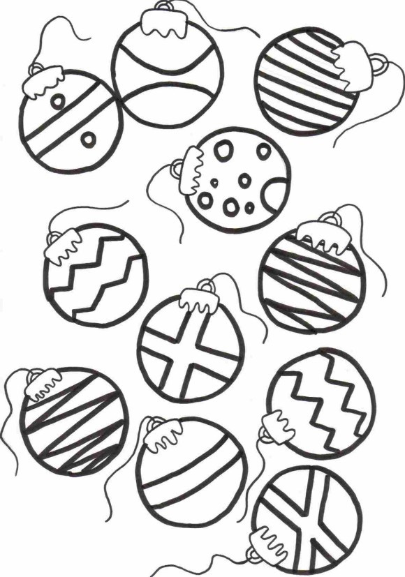 Christmas Tree Ornaments Coloring Pages Kids
