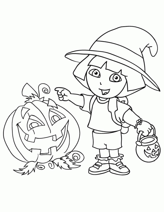 Dora Halloween Coloring Pages