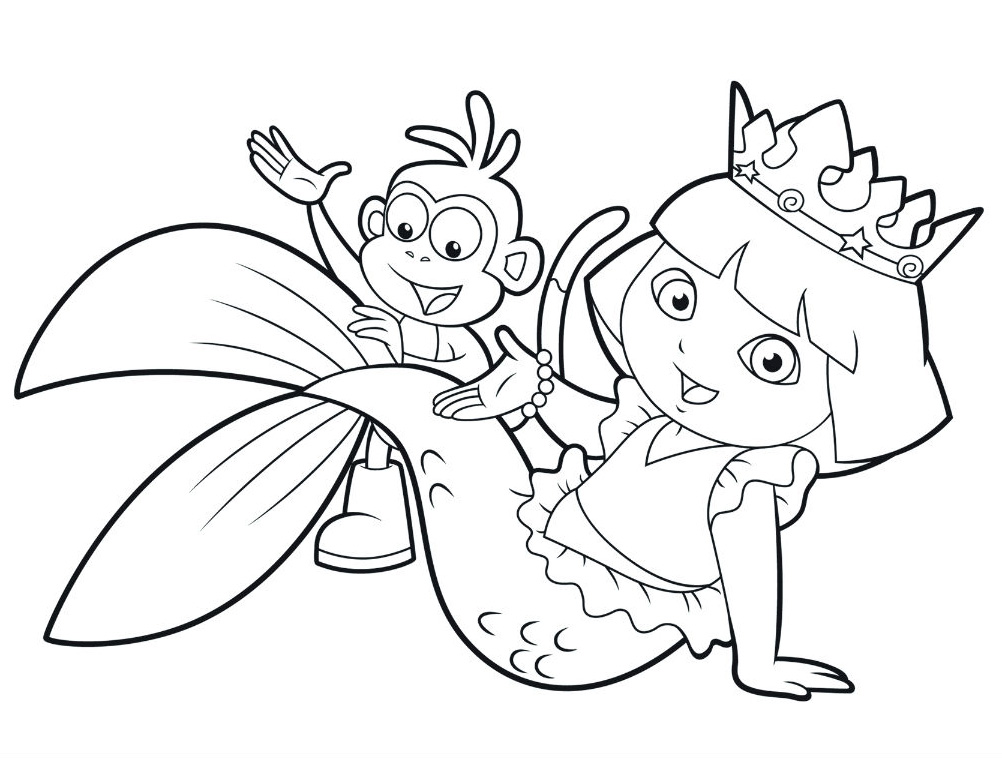 Mermaid Dora Coloring Pages