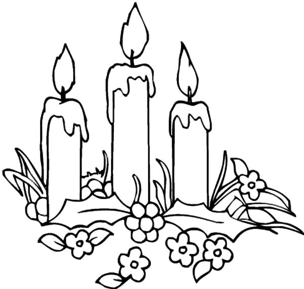 Printable Christmas Candles Coloring Pages