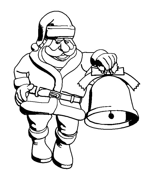 Santa Claus and Bell Free Coloring Pages