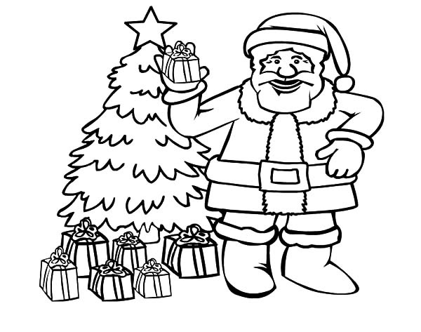 santa claus with christmas tree coloring pages