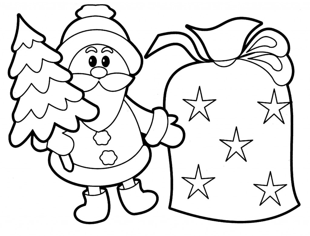 santa coloring pages for preschoolers
