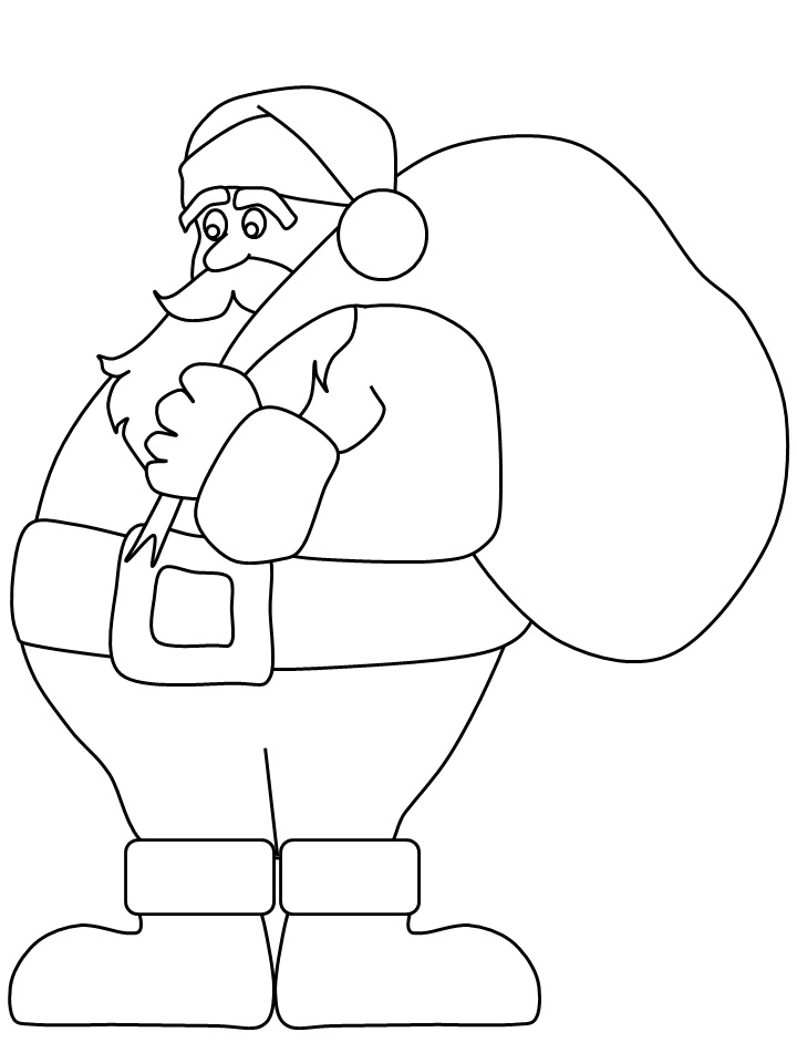 Santa Coloring Pages Simple
