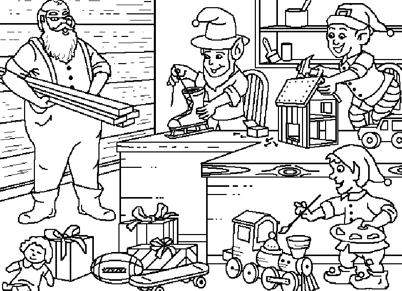 Santa's Workshop Coloring Pages