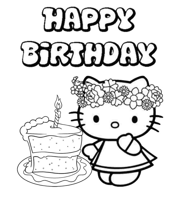Hello Kitty Birthday Cake Coloring Pages
