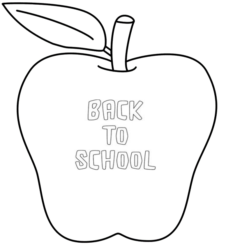 Back To School Apple Coloring Pages