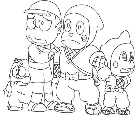 Ninja Hattori And Friends Coloring Page