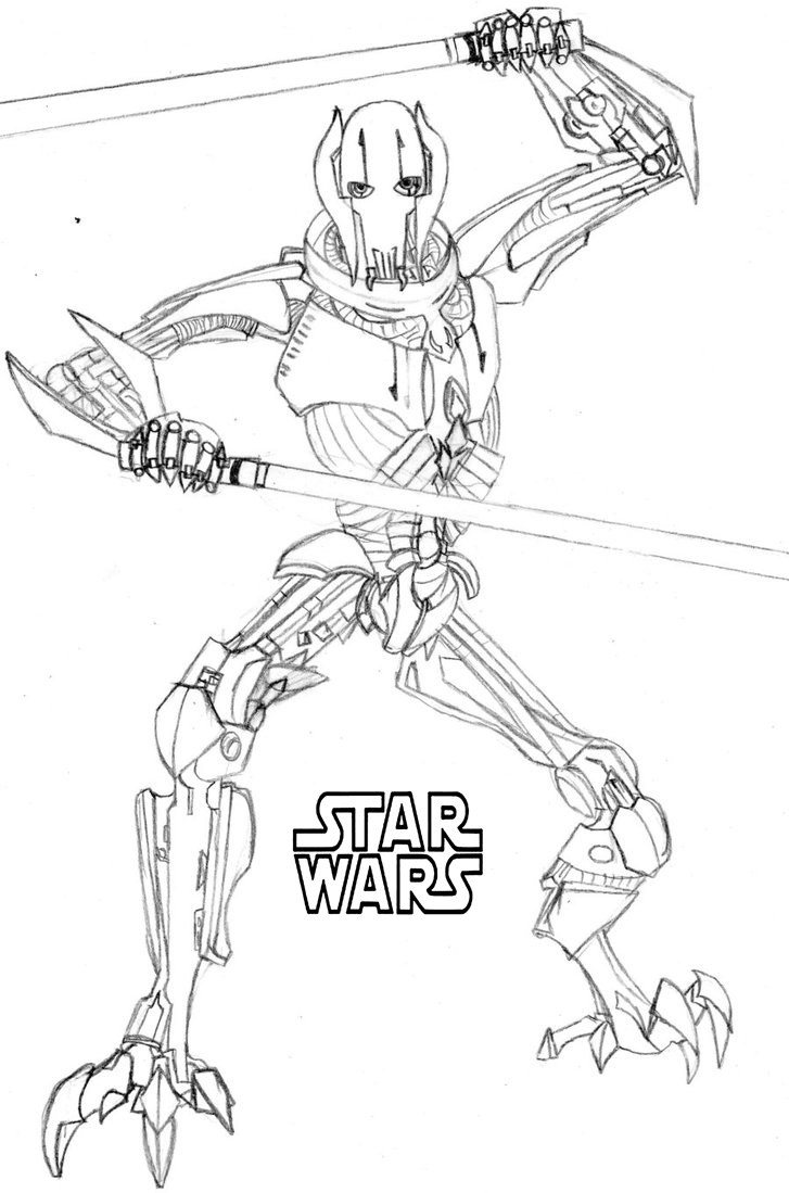 50 Top Star Wars Coloring Pages Online Free Grievous By Luctorr